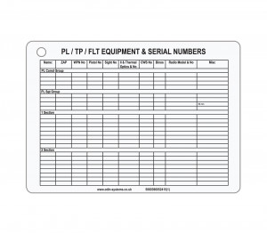 A5 Platoon Equipment Slate / Crib Card
