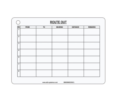 B5 Route Card (Out/Back)